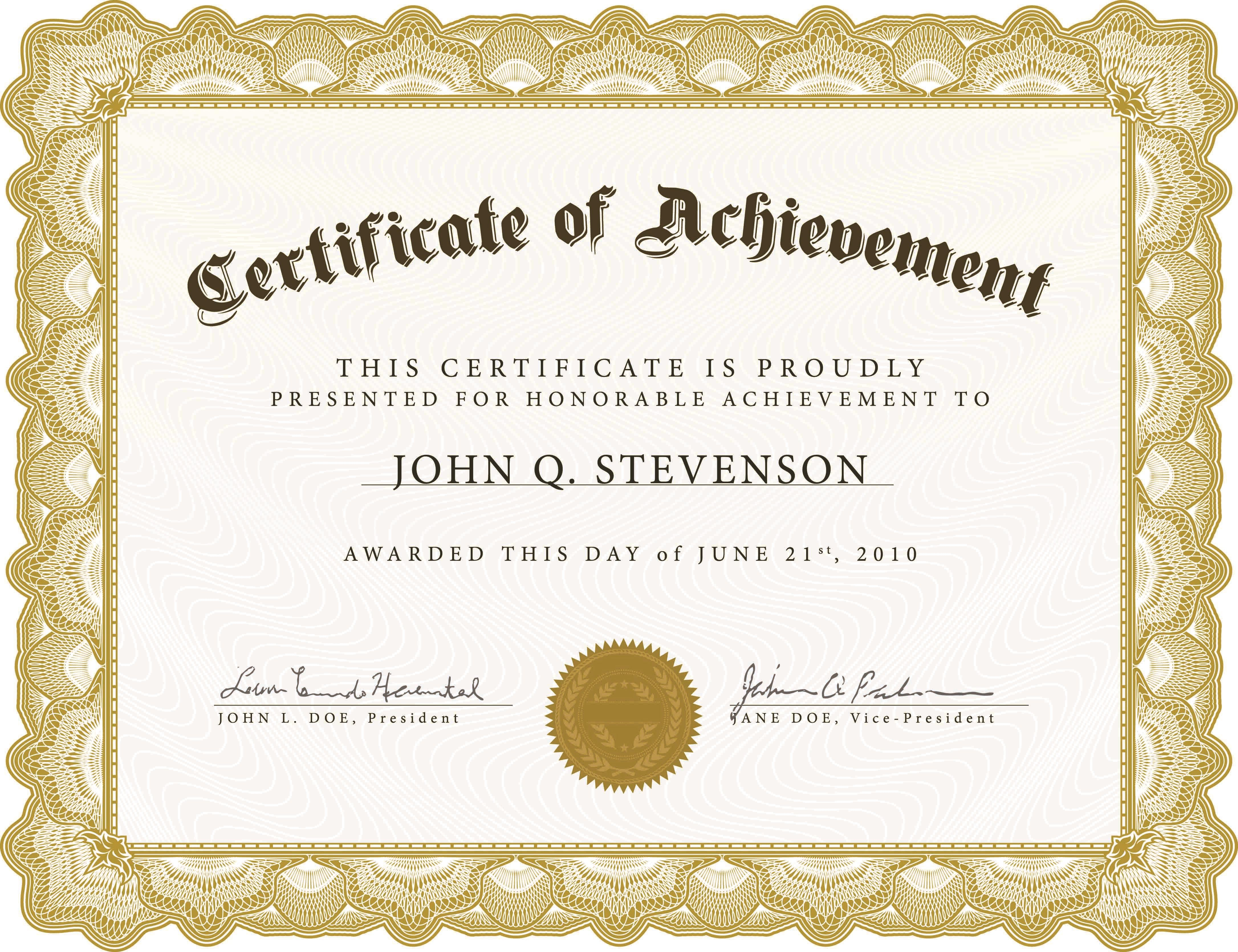005 Excellent Free Printable Blank Certificate Template Image  Templates Gift Of AchievementFull