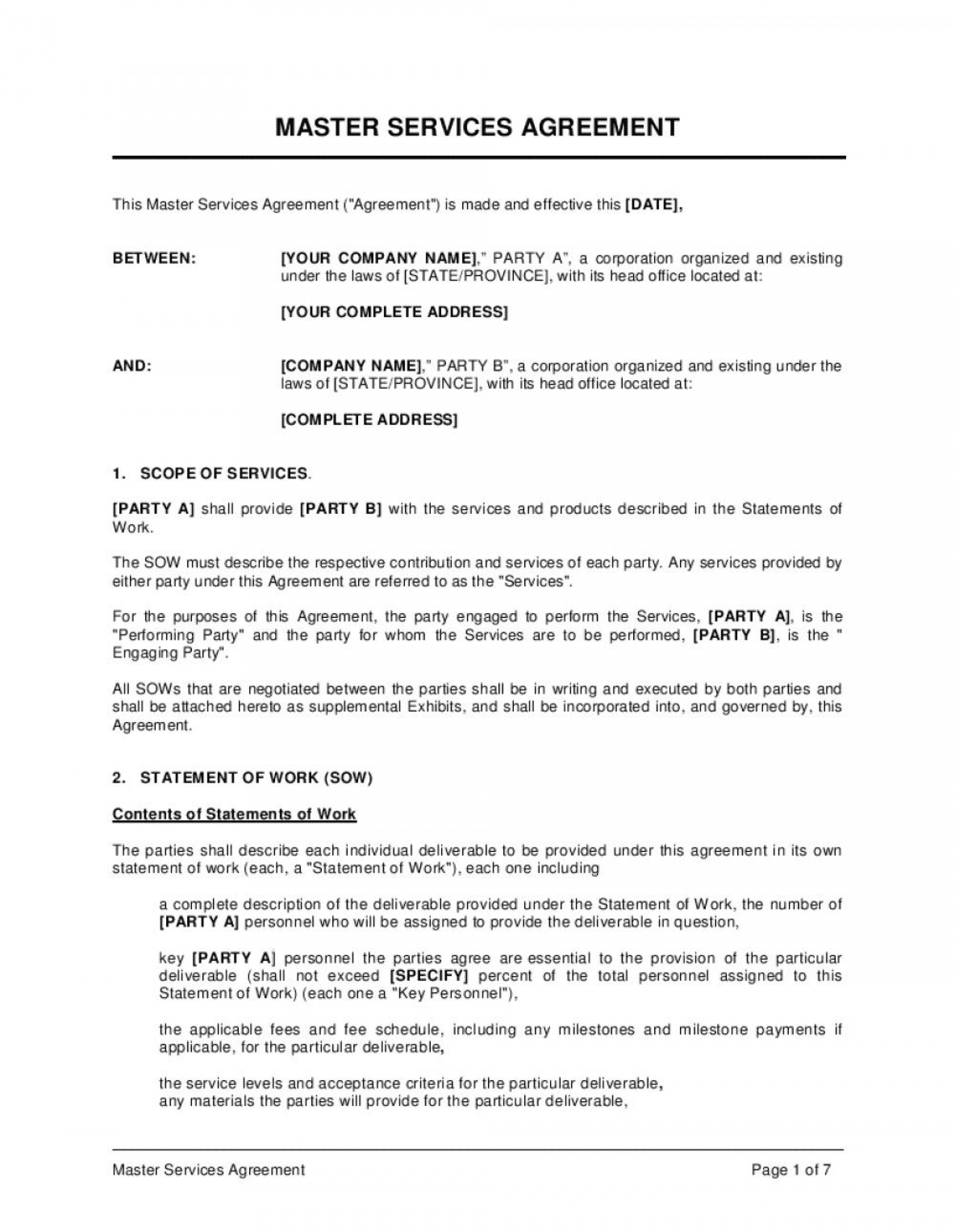 005 Excellent Master Service Agreement Template Image  Free Australia1920