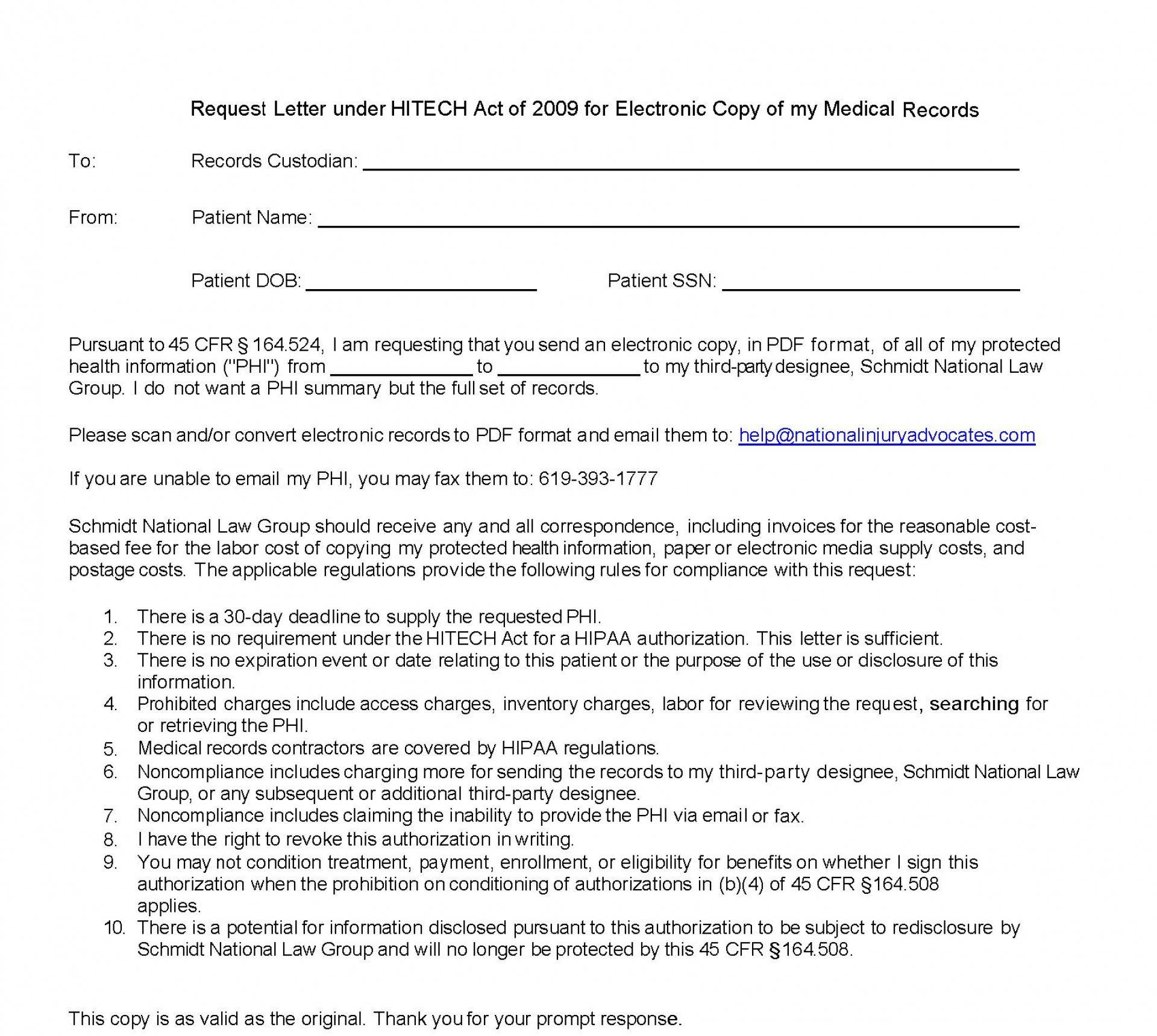 005 Excellent Medical Record Request Form Template Idea  Free Release Authorization1920