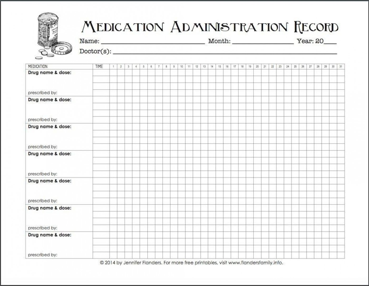 005 Excellent Medication Administration Record Form Download Highest Quality 1400