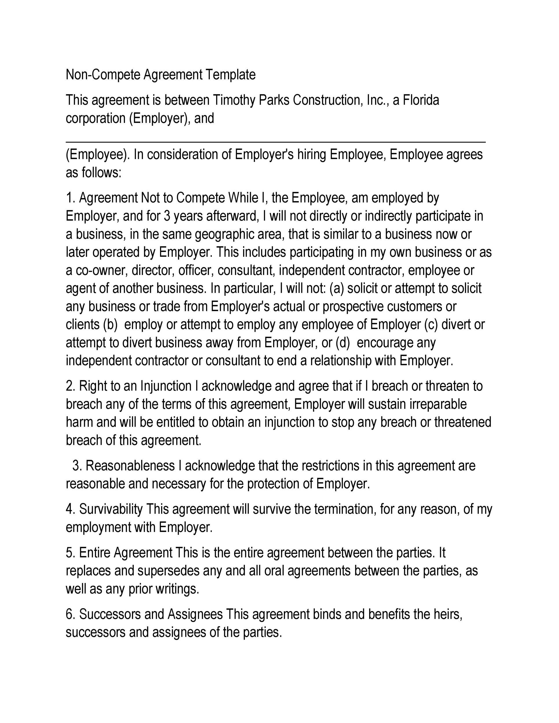 005 Excellent Non Compete Agreement Template Uk High Def Full