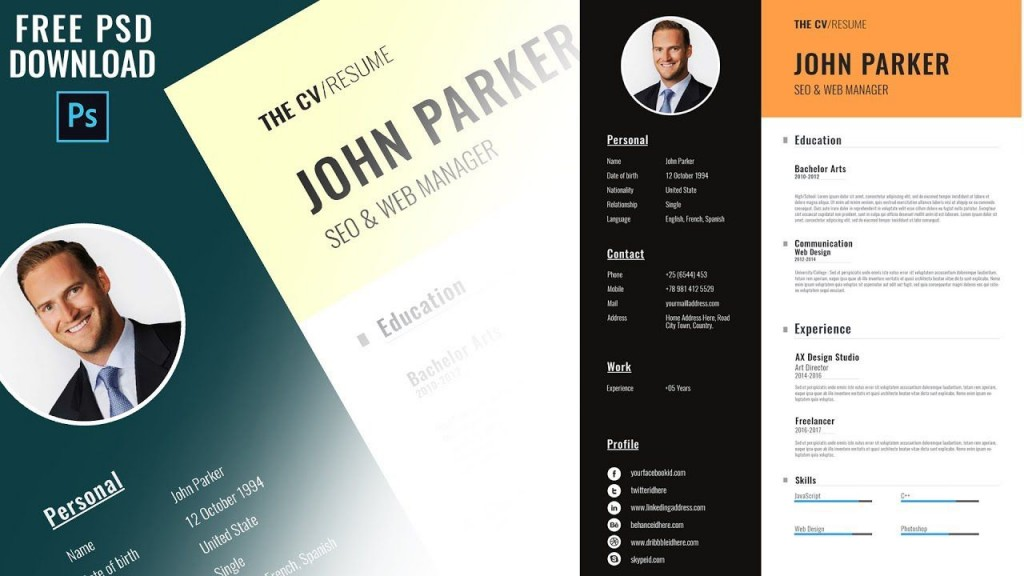 005 Excellent Photoshop Resume Template Free Download Highest Quality  Creative Cv PsdLarge