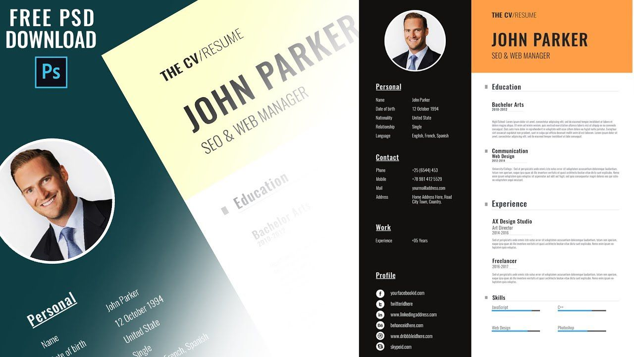 005 Excellent Photoshop Resume Template Free Download Highest Quality  Creative Cv PsdFull