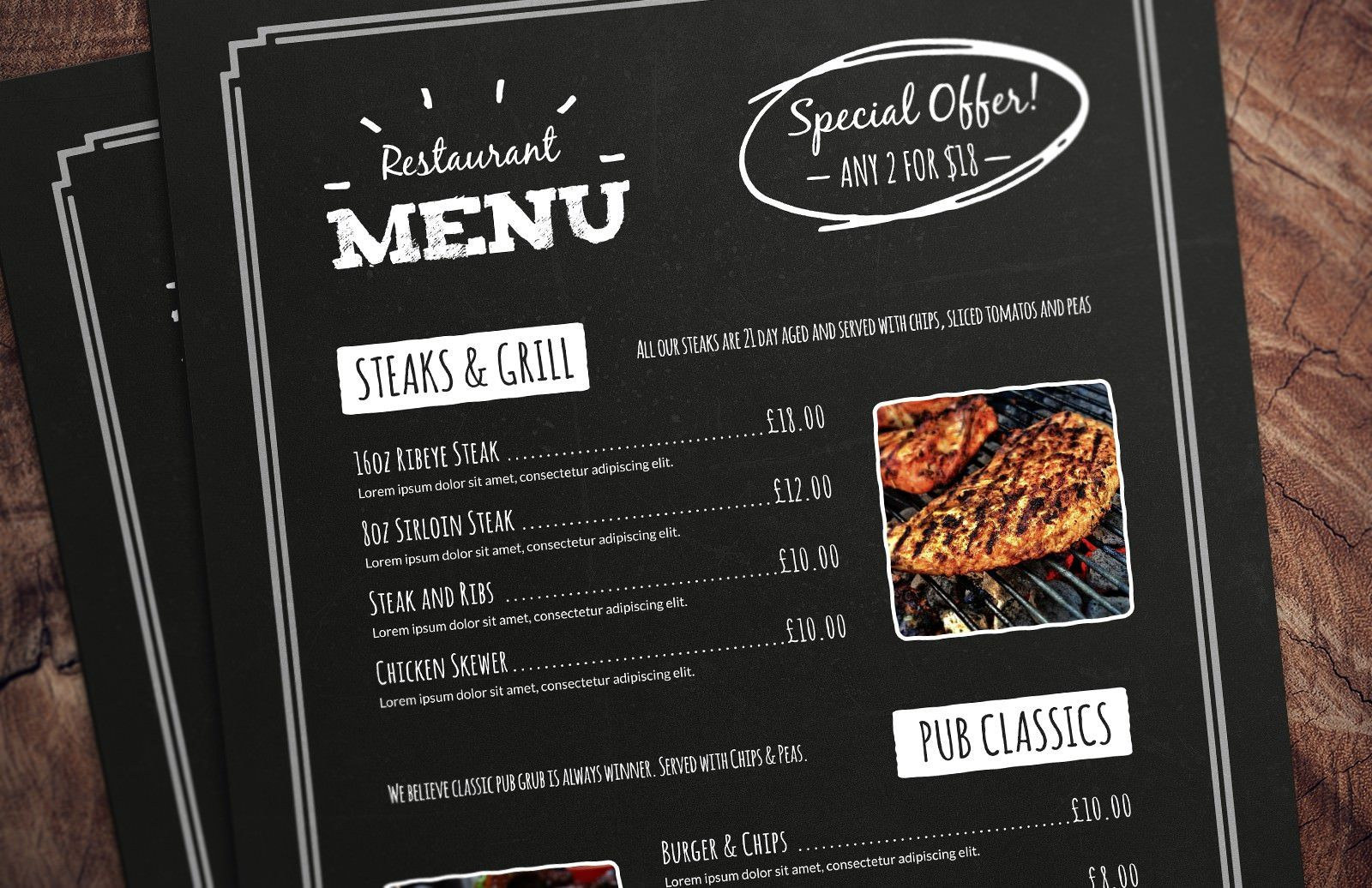 005 Excellent Restaurant Menu Template Free Download Example Full