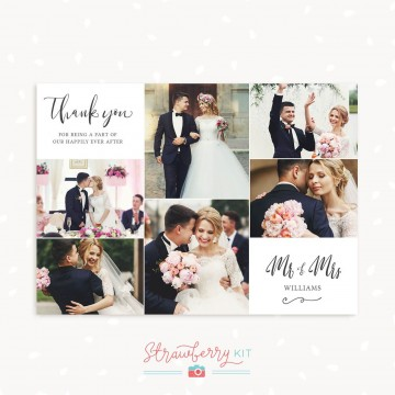 005 Excellent Wedding Thank You Card Template Idea  Photoshop Word Etsy360