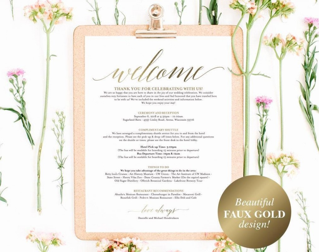 005 Excellent Wedding Welcome Letter Template Free Sample  BagLarge
