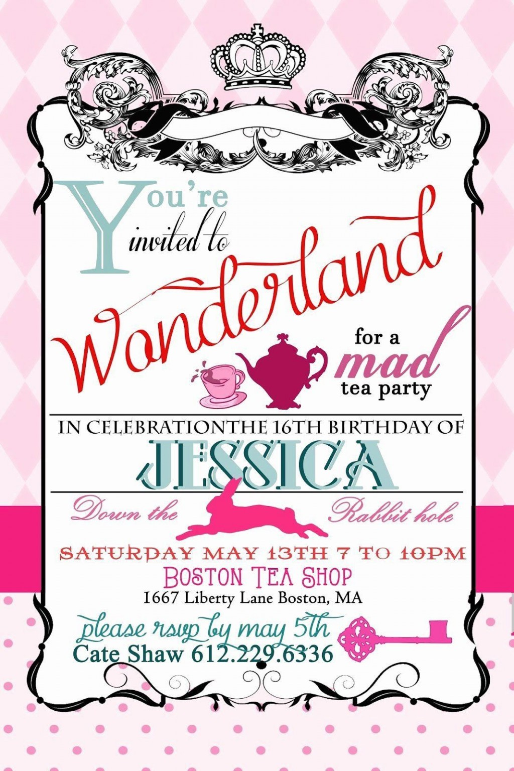 005 Exceptional Alice In Wonderland Party Template High Definition  Templates Invitation FreeLarge