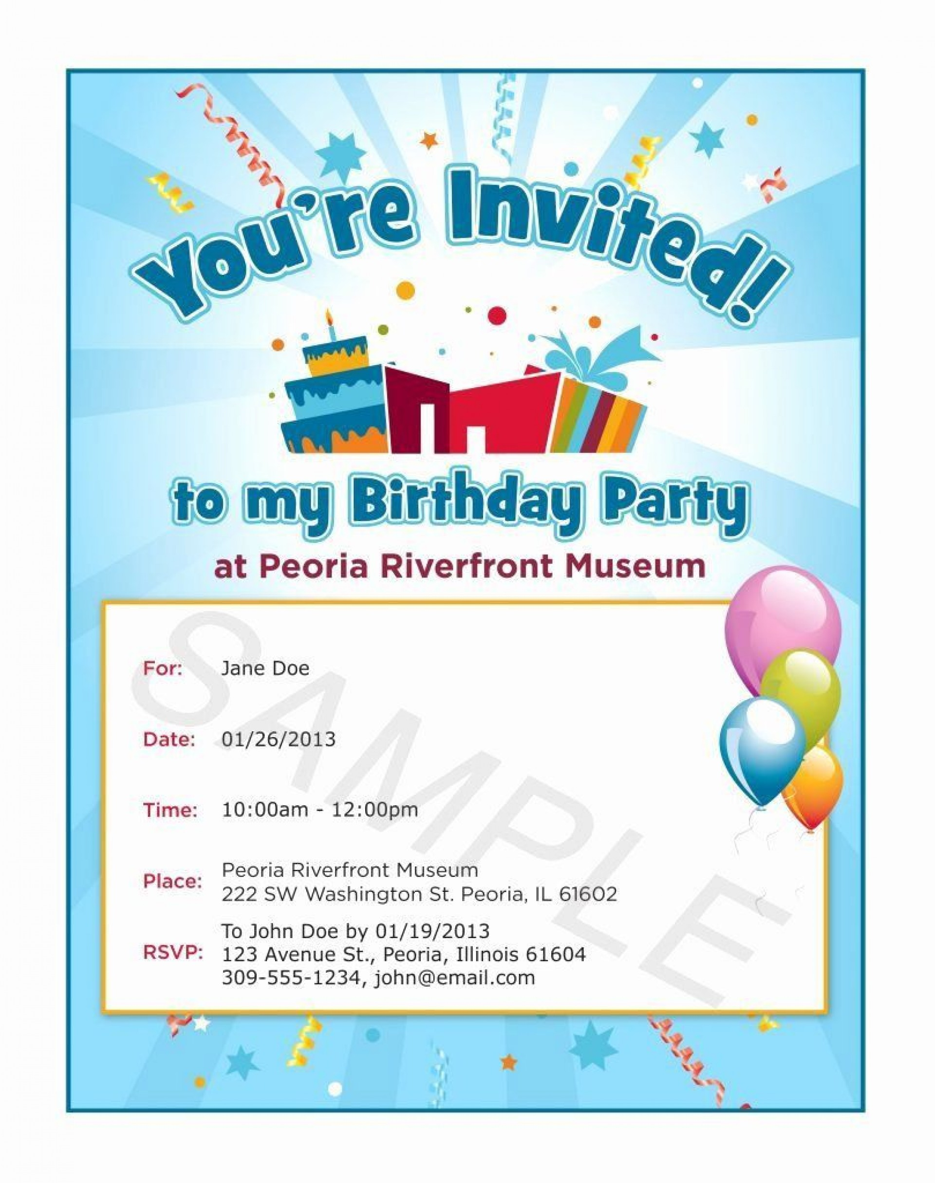 005 Exceptional Birthday Party Invitation Template Word Free Idea  Download Invite1920