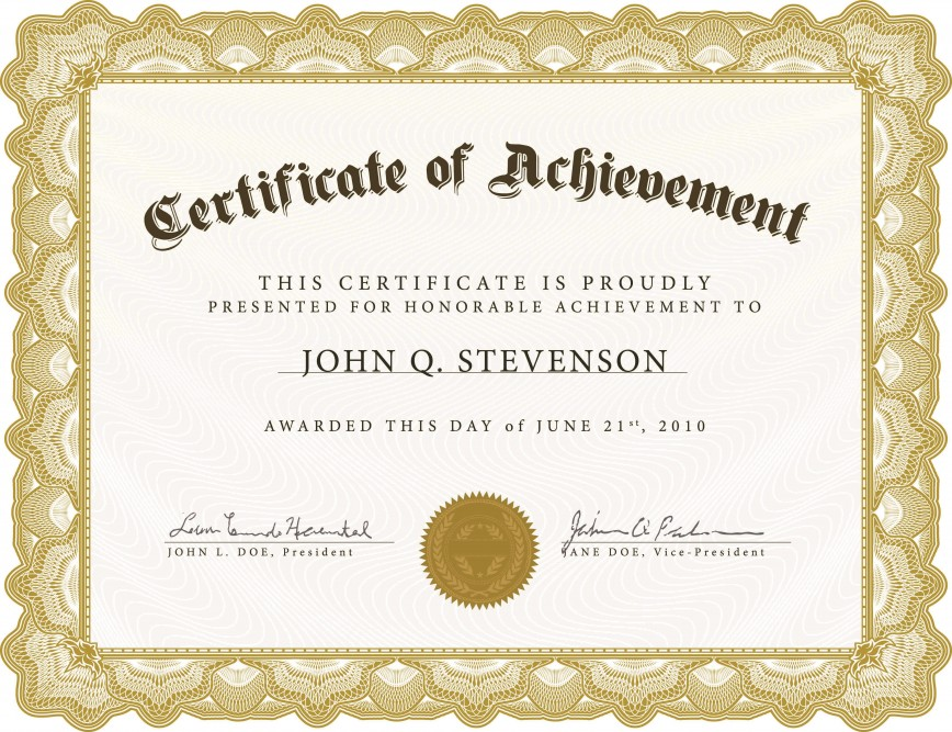 005 Exceptional Certificate Of Award Template Word Free Photo 868