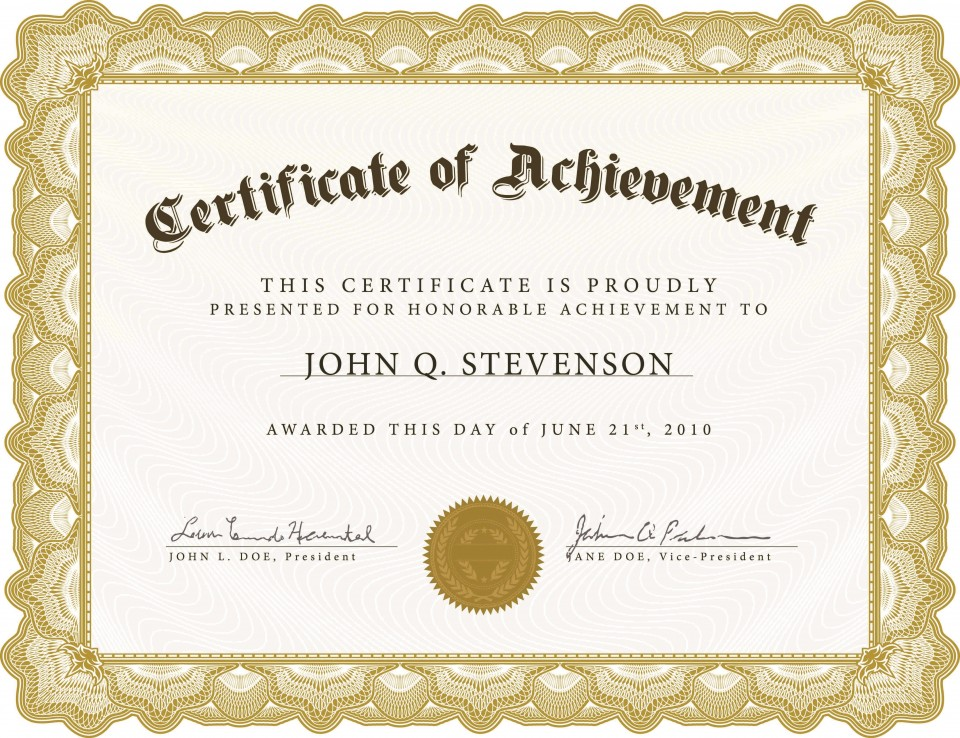 005 Exceptional Certificate Of Award Template Word Free Photo 960