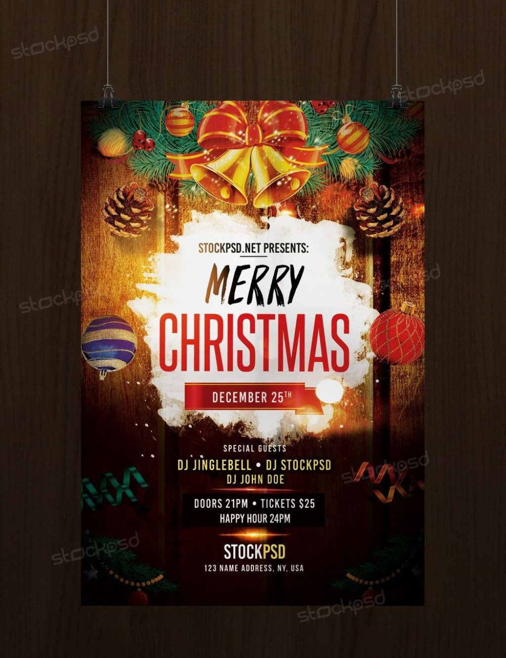 005 Exceptional Christma Flyer Template Free Idea  Party Invitation Psd DownloadLarge
