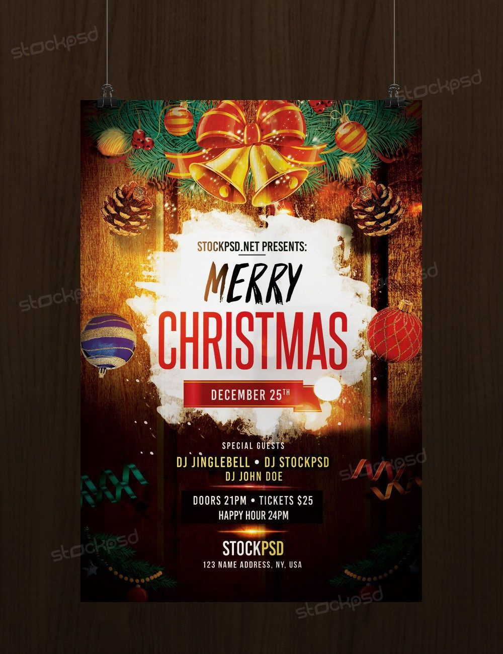 005 Exceptional Christma Flyer Template Free Idea  Party Invitation Psd DownloadFull