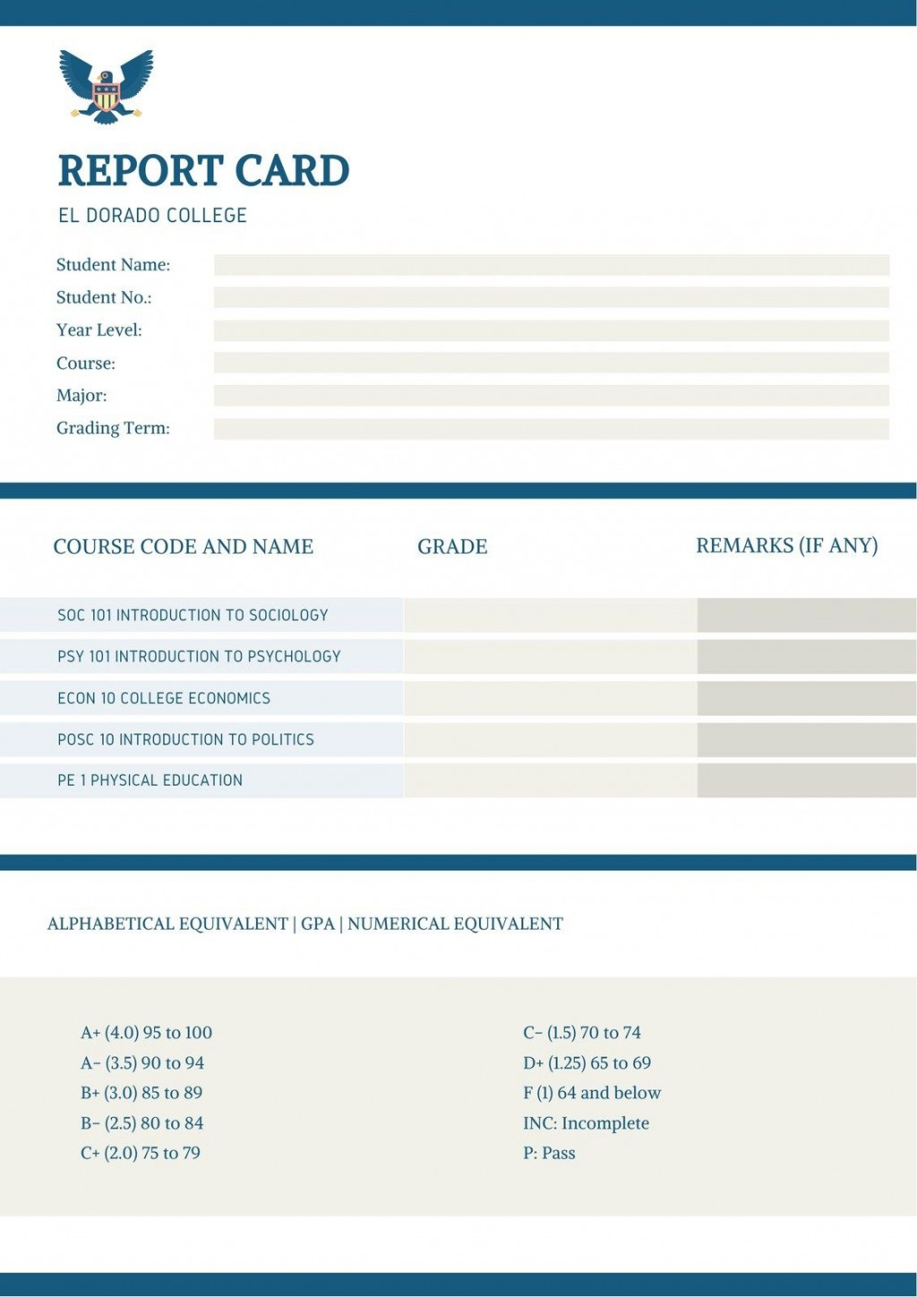 005 Exceptional College Report Card Template High Def  Free FakeLarge