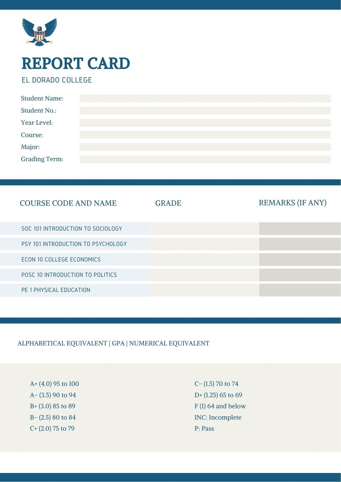 005 Exceptional College Report Card Template High Def  Free FakeFull