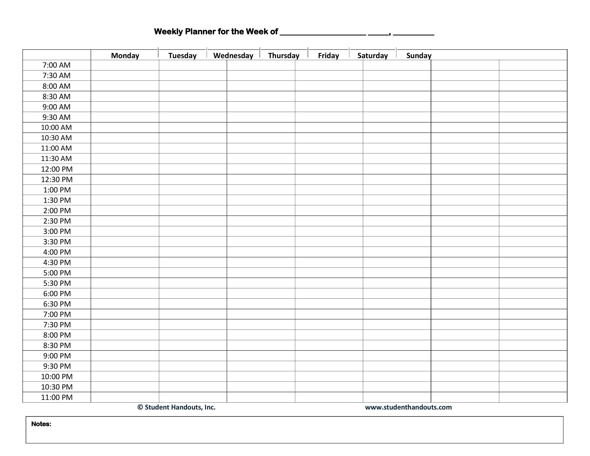 005 Exceptional Daily Hourly Schedule Template Word Concept Full