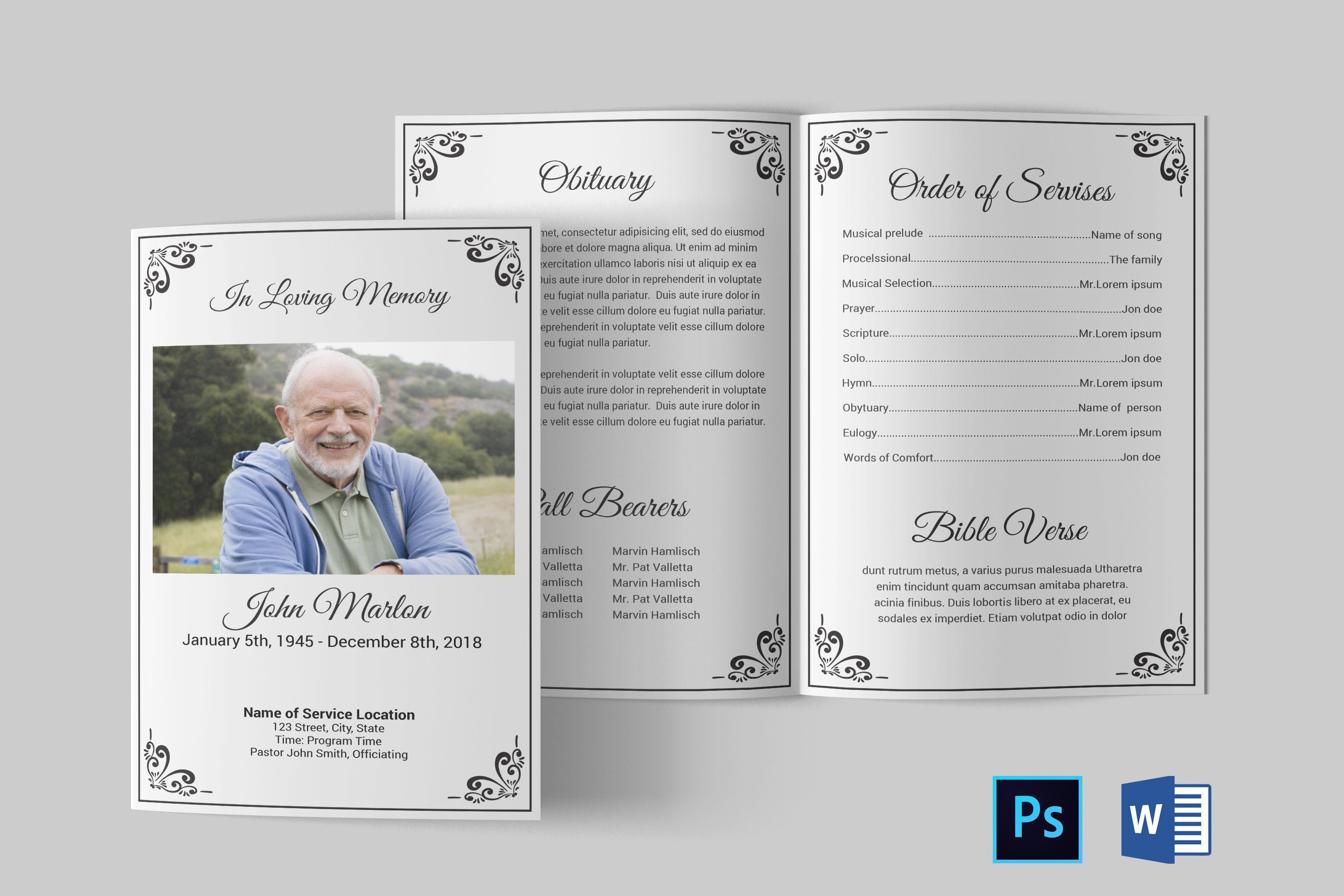 005 Exceptional Free Funeral Pamphlet Template High Resolution  Word Simple Program Download PsdFull