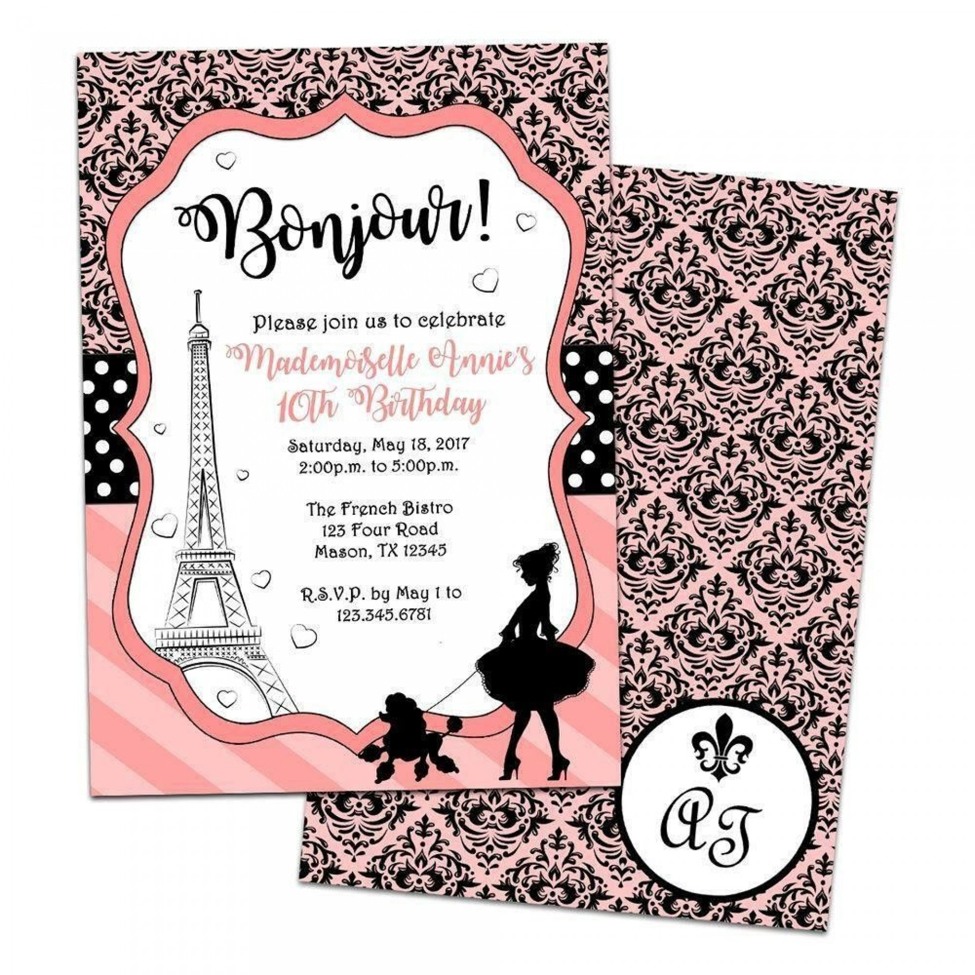 005 Exceptional Free Pari Birthday Party Invitation Template Highest Quality  Templates1920