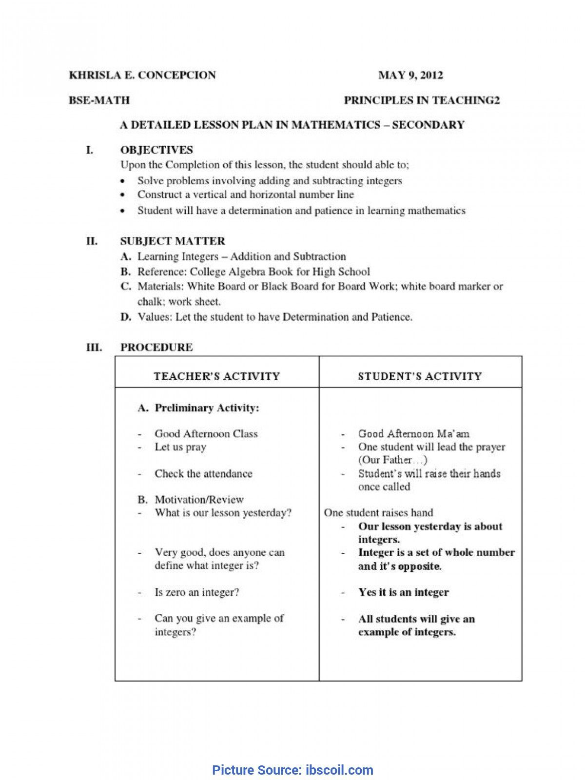 005 Exceptional Lesson Plan Template High School Math Definition  Example For FreeFull