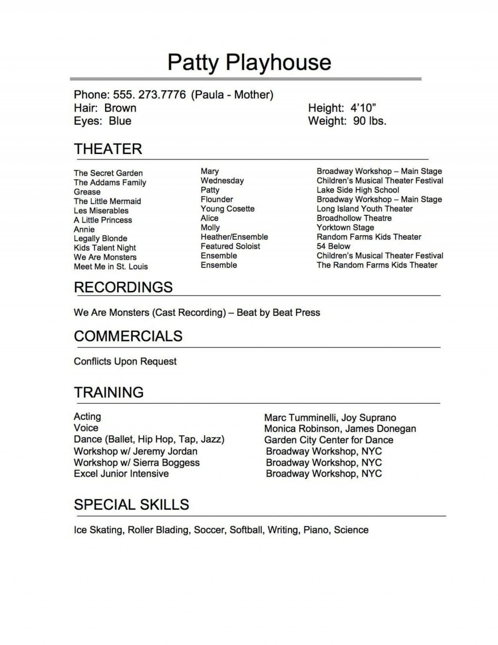005 Exceptional Musical Theater Resume Template Word Sample  TheatreLarge
