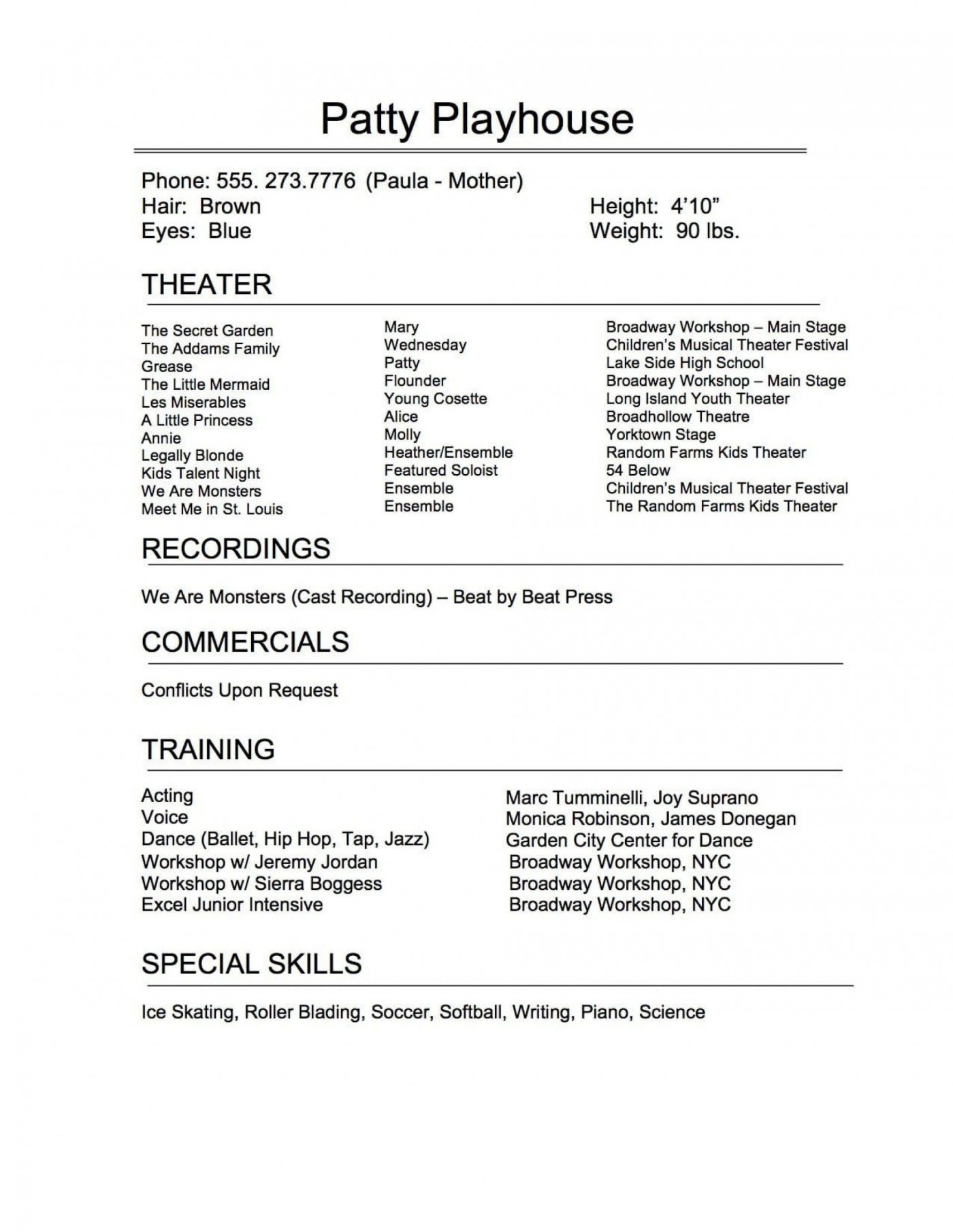 005 Exceptional Musical Theater Resume Template Word Sample  Theatre1400