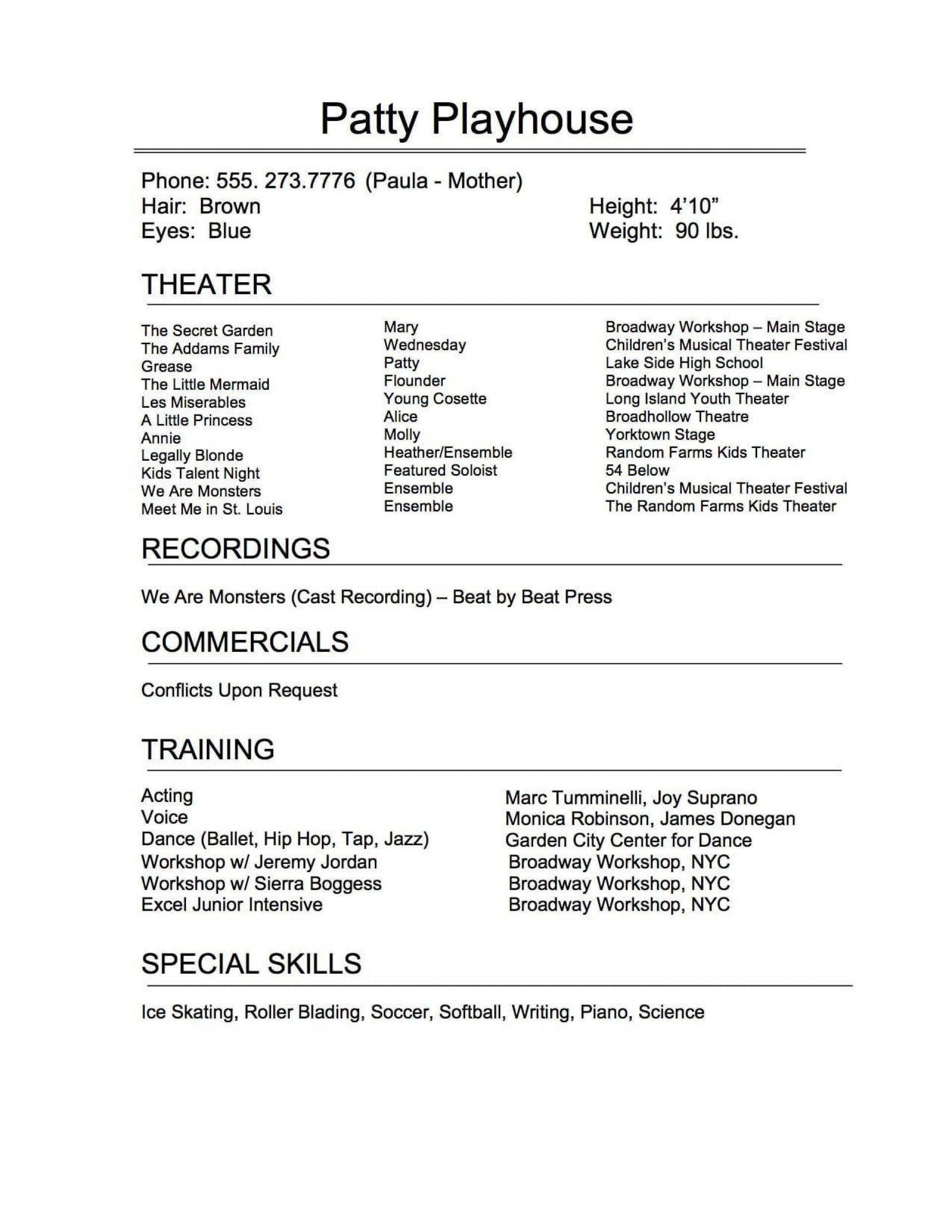 005 Exceptional Musical Theater Resume Template Word Sample  Theatre1920