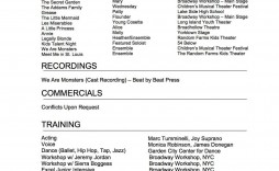 005 Exceptional Musical Theater Resume Template Word Sample  Theatre