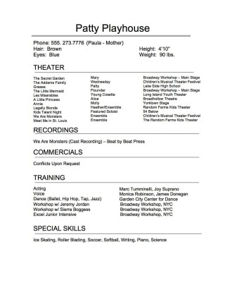 005 Exceptional Musical Theater Resume Template Word Sample  Theatre320