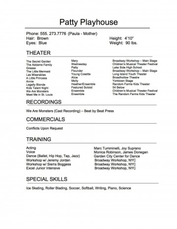 005 Exceptional Musical Theater Resume Template Word Sample  Theatre360