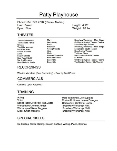 005 Exceptional Musical Theater Resume Template Word Sample  Theatre480