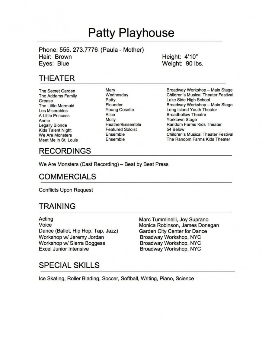 005 Exceptional Musical Theater Resume Template Word Sample  Theatre868