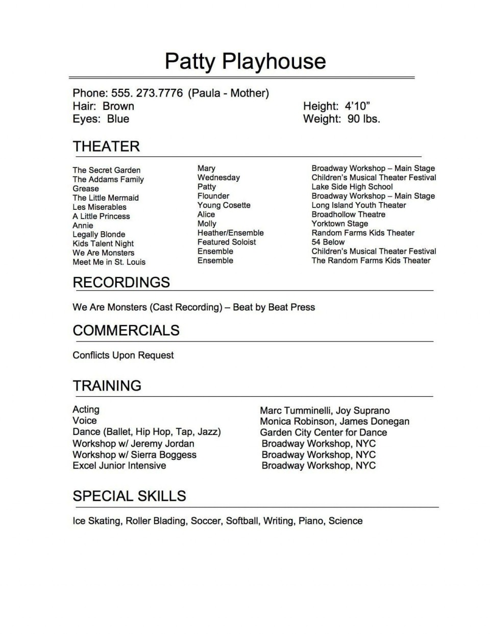 005 Exceptional Musical Theater Resume Template Word Sample  Theatre960