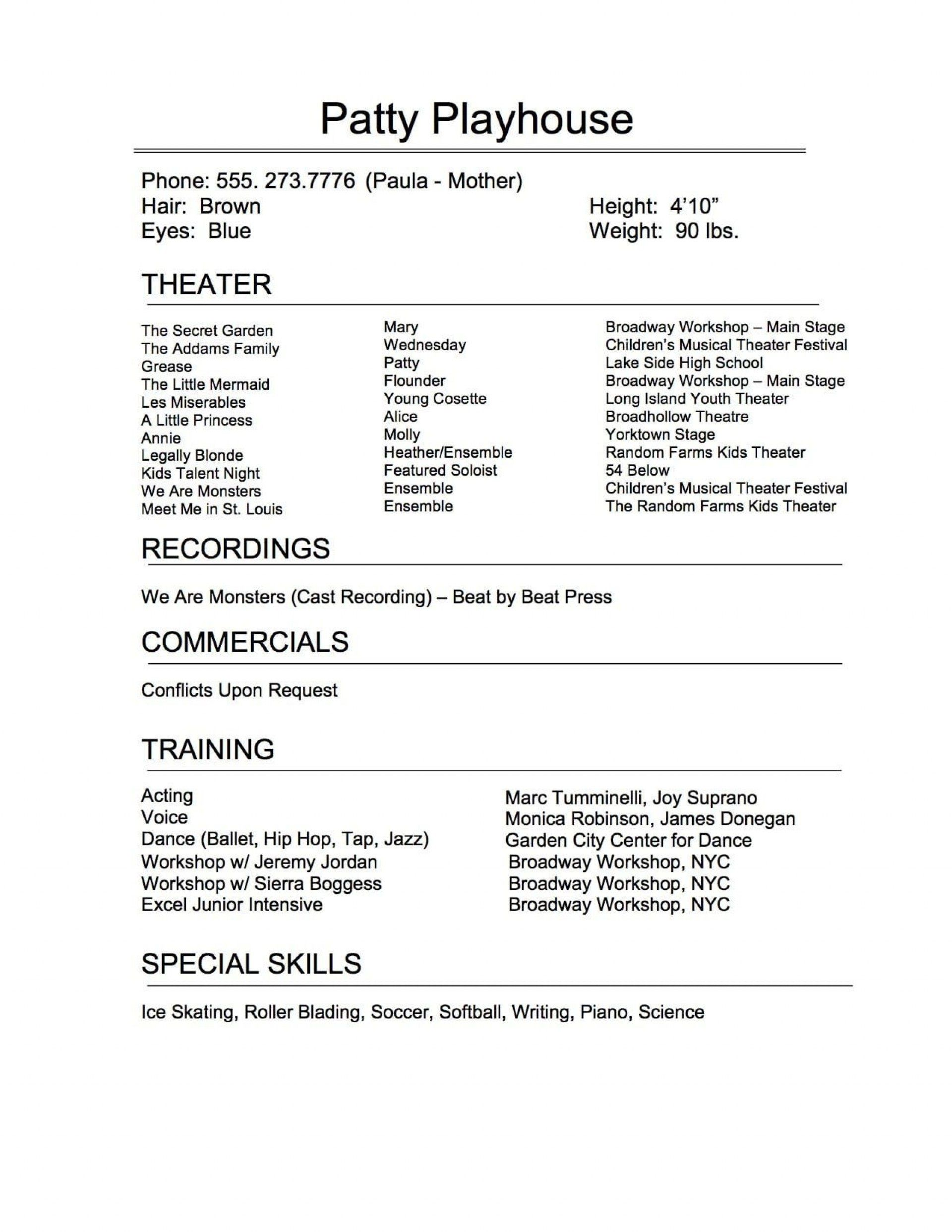 005 Exceptional Musical Theater Resume Template Word Sample  TheatreFull