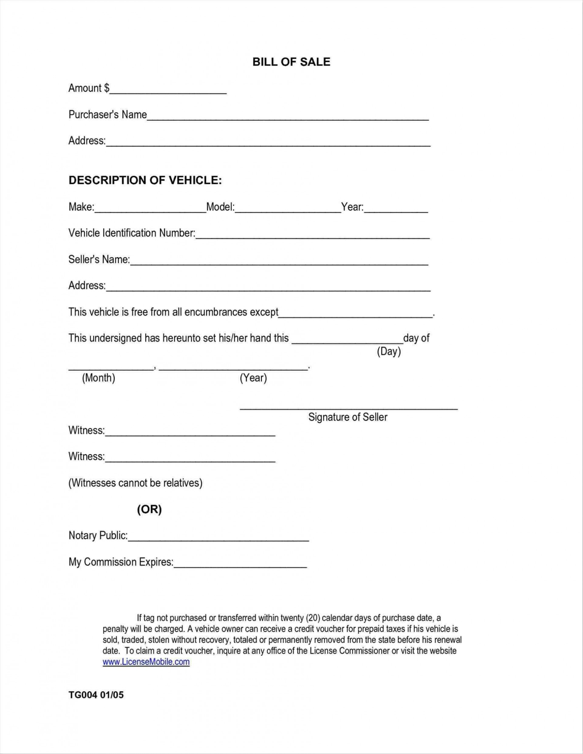 005 Exceptional Printable Bill Of Sale Template Idea  Word Saskatchewan Free Used Car Ontario1920