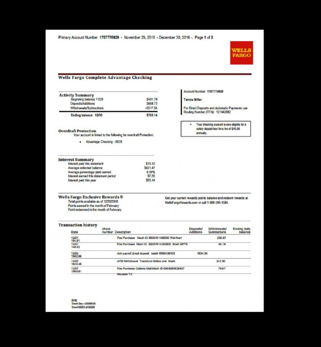 005 Exceptional Well Fargo Bank Statement Template High Def  Fillable EditableLarge
