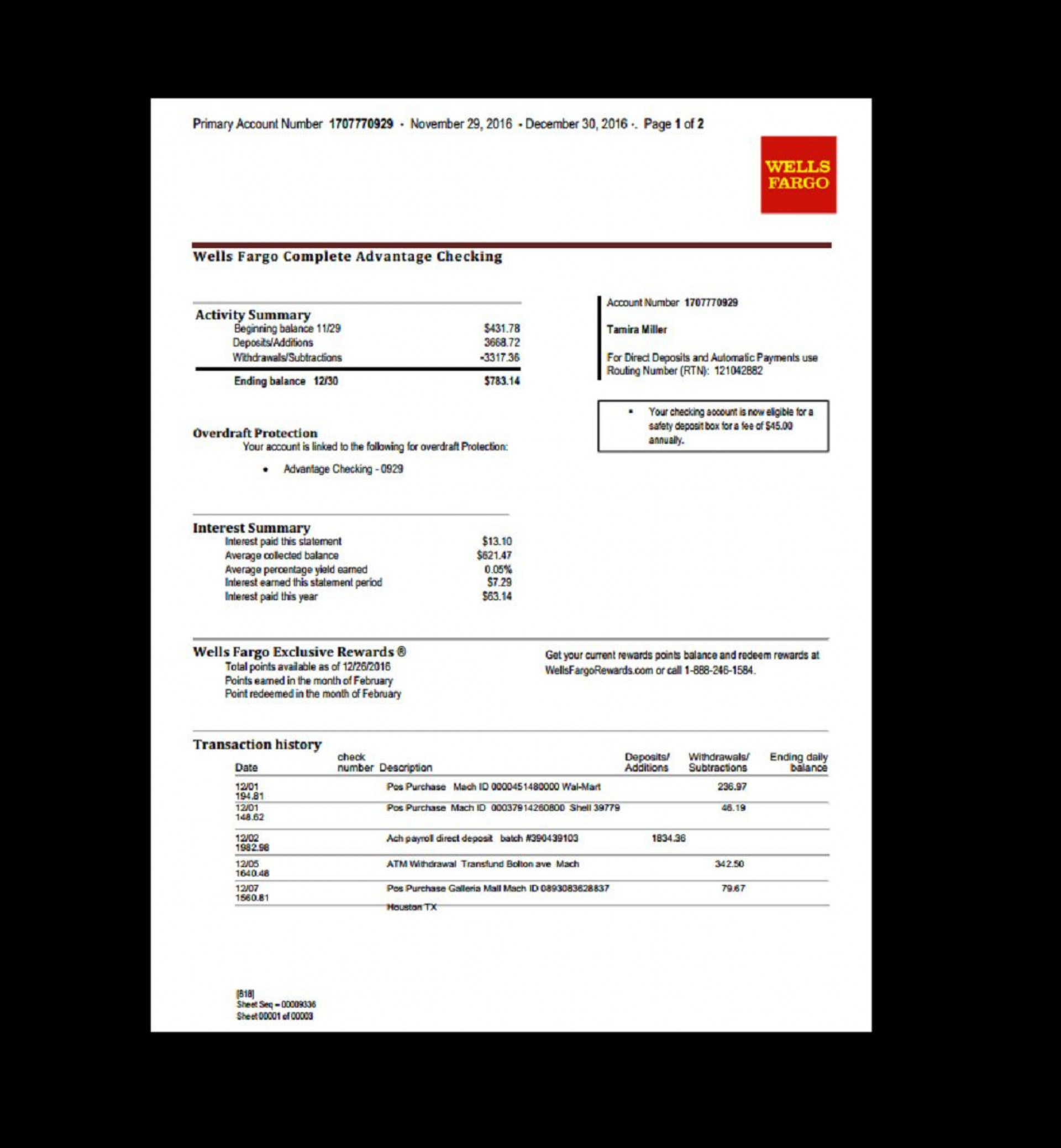 005 Exceptional Well Fargo Bank Statement Template High Def  Fillable Editable1920