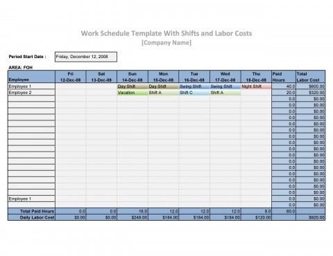 005 Exceptional Work Schedule Format In Excel Download Image  Order Template Free480