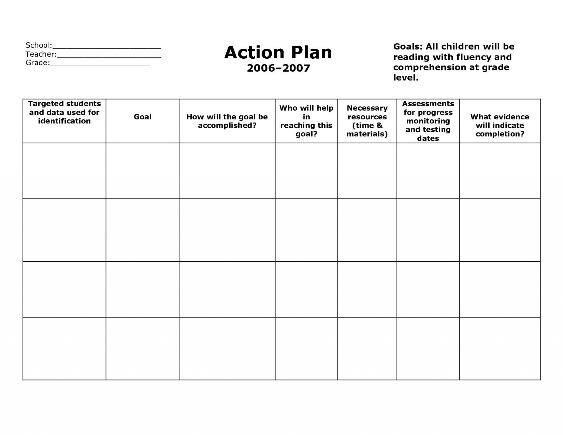 005 Fantastic Action Plan Template Word Sample  Example Safety Corrective1920