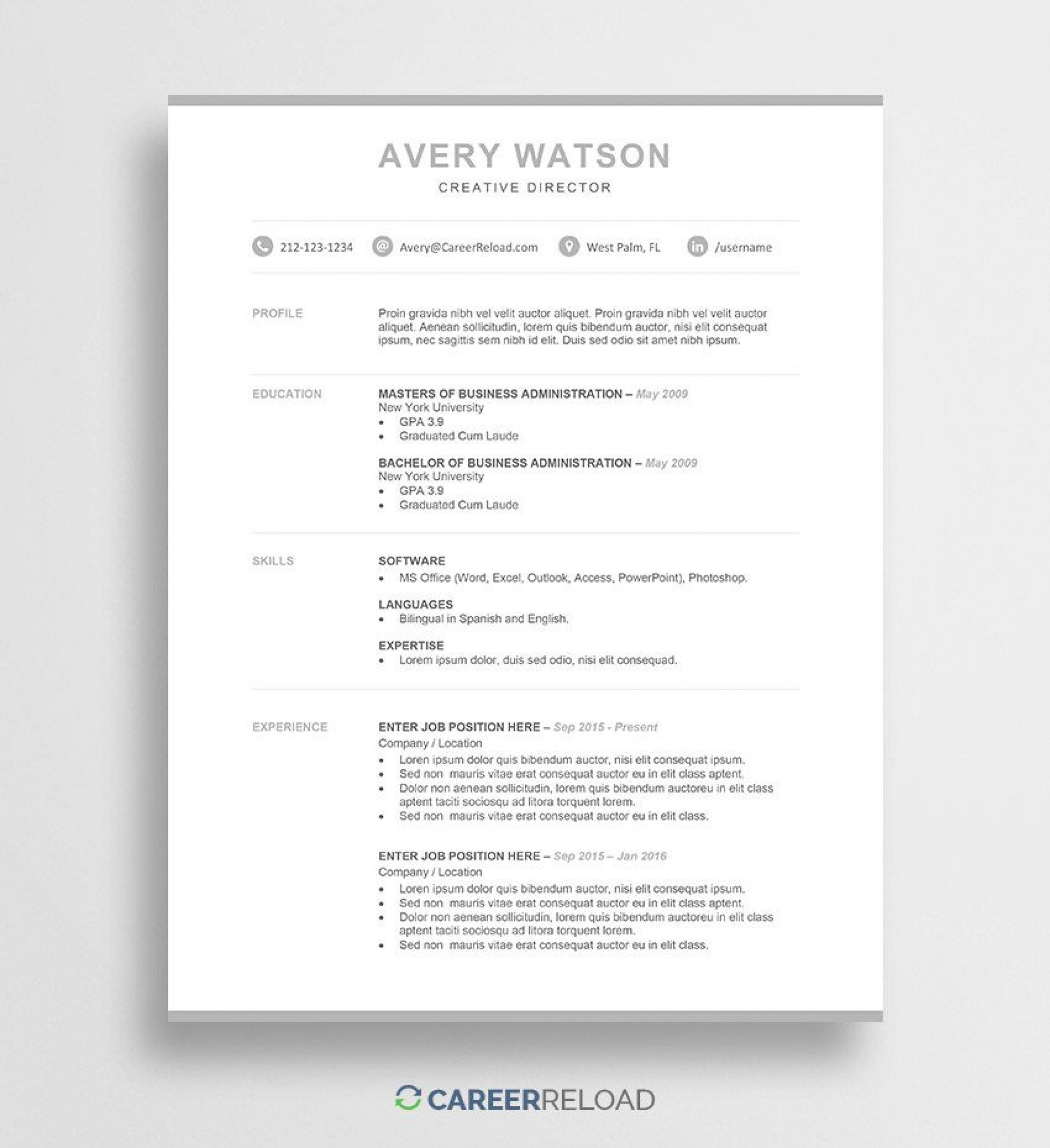 005 Fantastic Entry Level Resume Template Word Highest Clarity  Free For1920