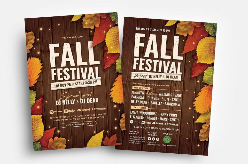 005 Fantastic Fall Festival Flyer Template Inspiration  FreeLarge