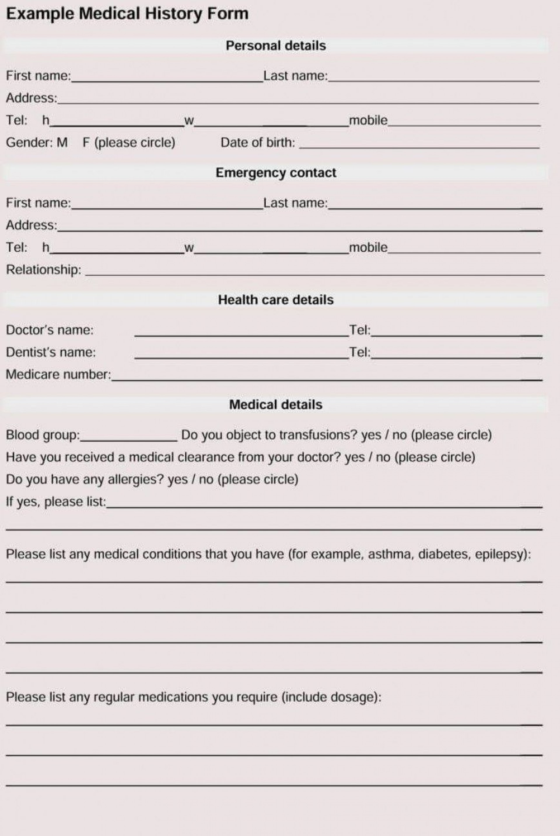 005 Fantastic Family Medical History Template Free High Def  Questionnaire1920