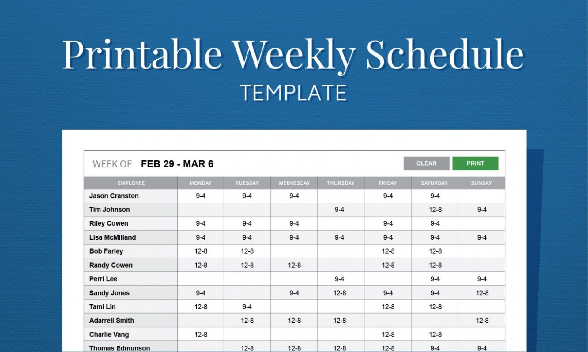 005 Fantastic Free Employee Scheduling Template Concept  Templates Weekly Work Schedule Printable Lunch1920