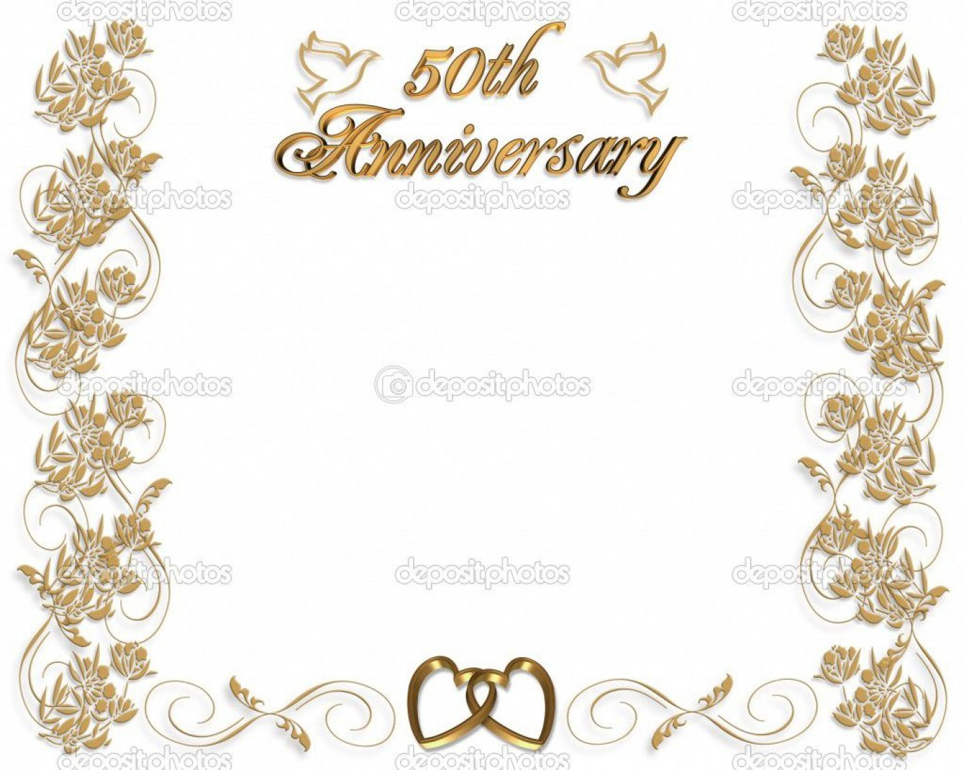 005 Fantastic Free Printable 50th Wedding Anniversary Invitation Template Design 1400