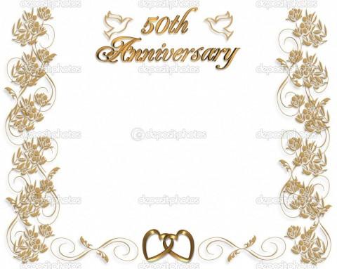 005 Fantastic Free Printable 50th Wedding Anniversary Invitation Template Design 480