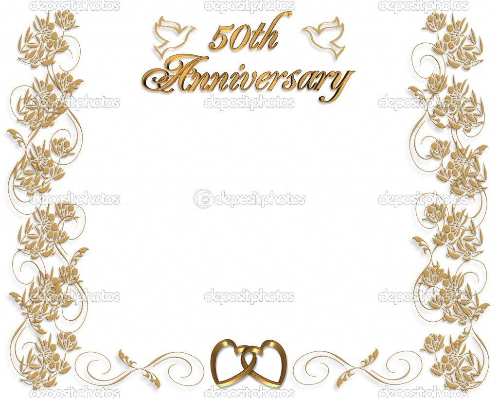 005 Fantastic Free Printable 50th Wedding Anniversary Invitation Template Design Full