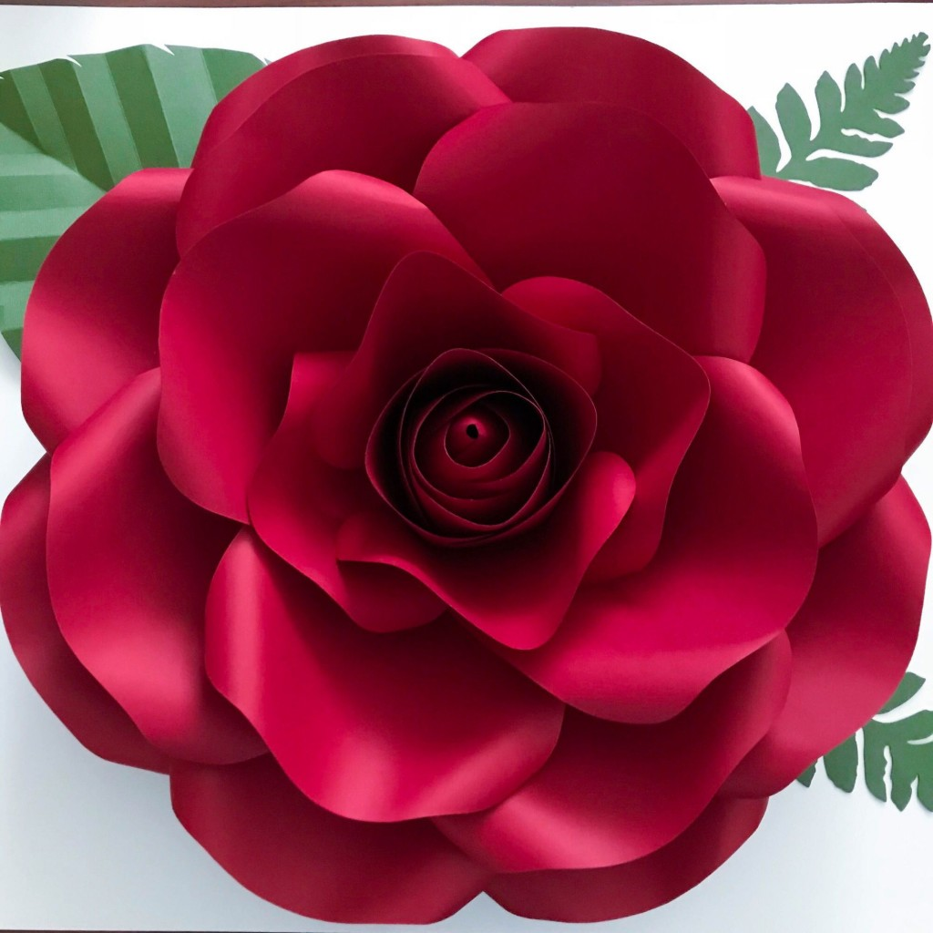 005 Fantastic Large Rose Paper Flower Template Free Example Large