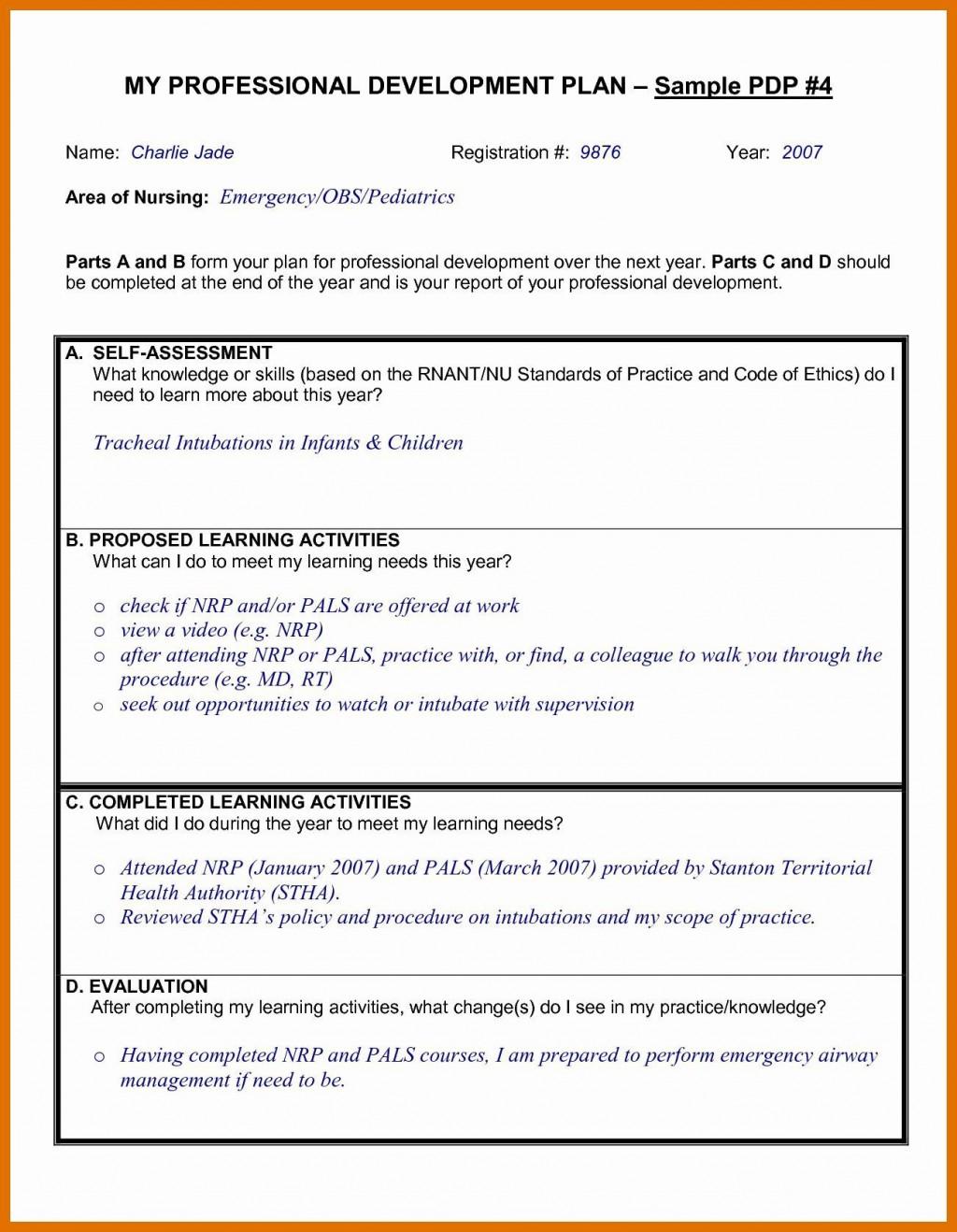 005 Fantastic Professional Development Plan Template For Nurse Example  Nurses Sample GoalLarge