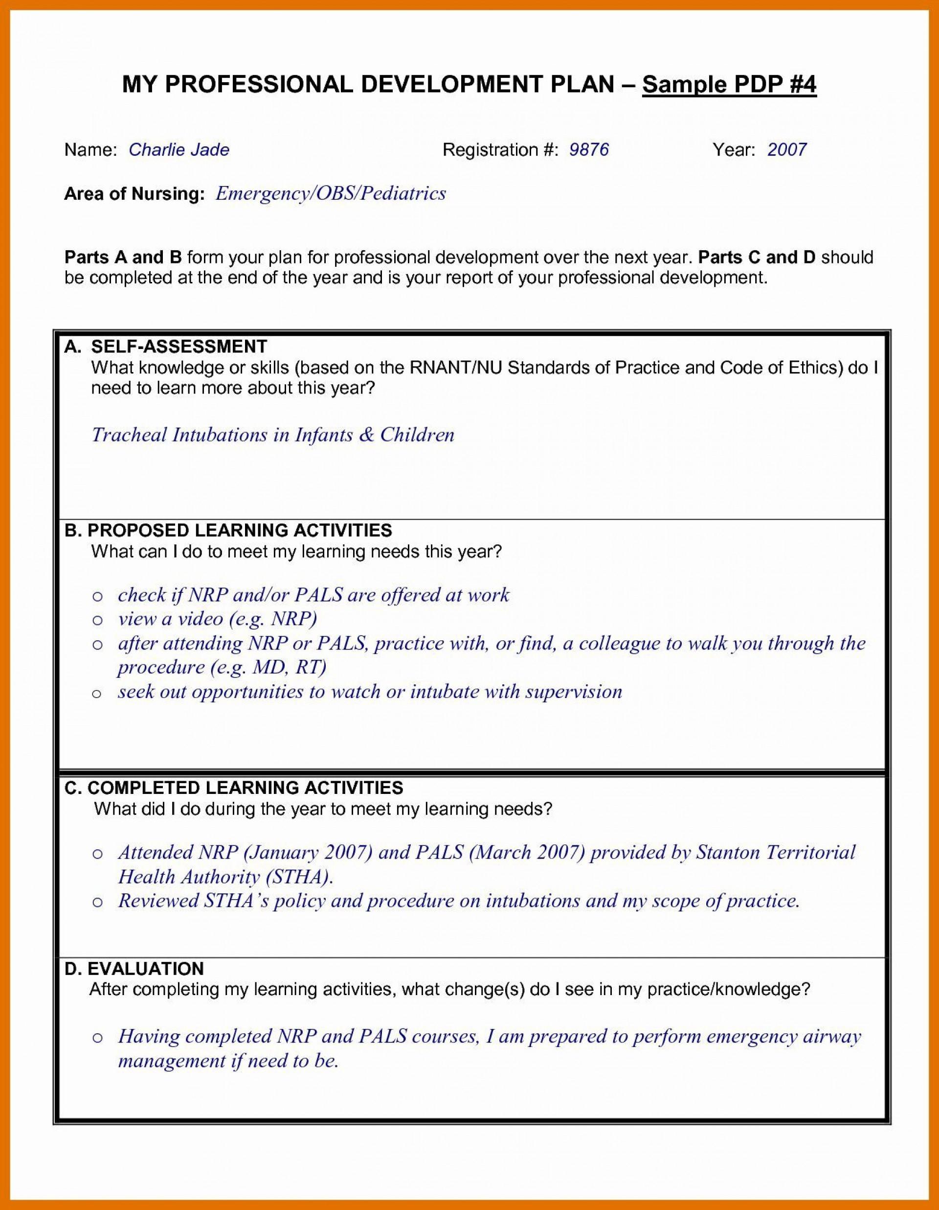 005 Fantastic Professional Development Plan Template For Nurse Example  Nurses Sample Goal1920