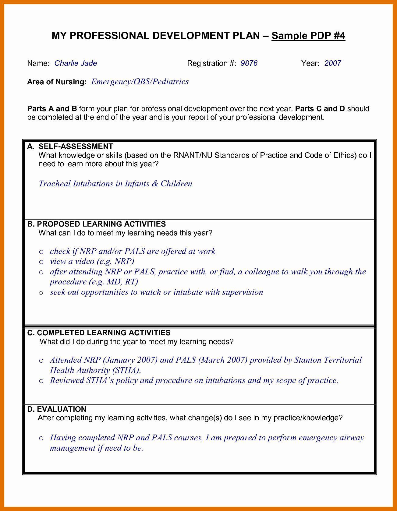 005 Fantastic Professional Development Plan Template For Nurse Example  Nurses Sample GoalFull