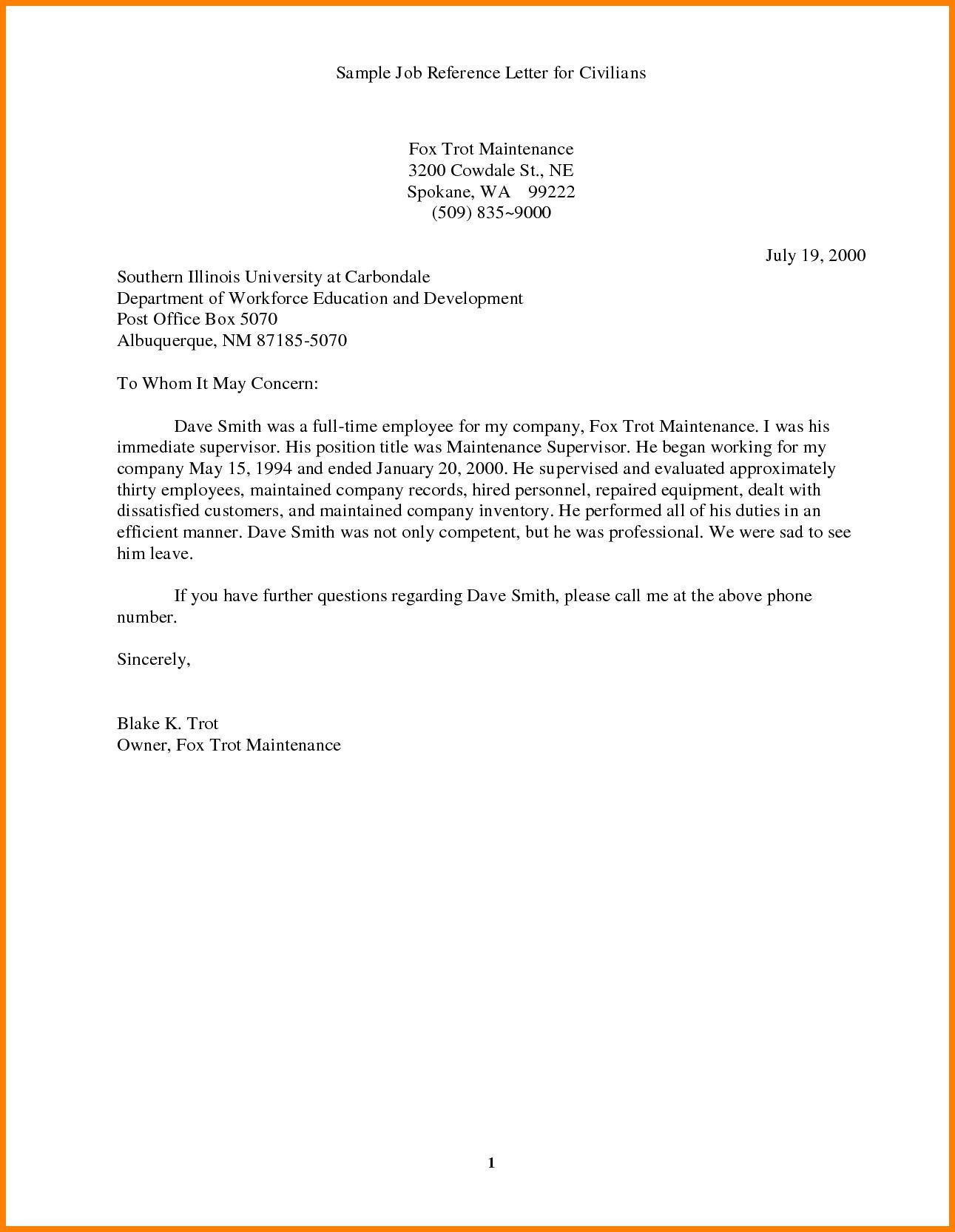 005 Fantastic Professional Reference Letter Template Word Image Full