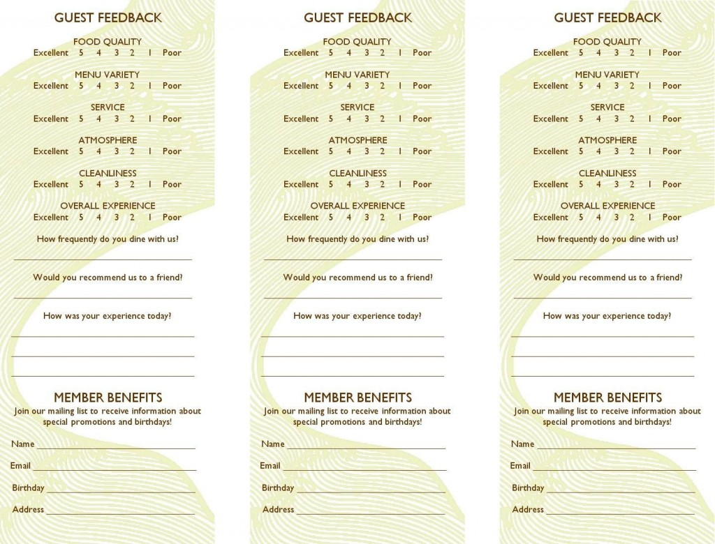 005 Fantastic Restaurant Customer Comment Card Template Sample  For Word FreeLarge